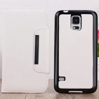 High quality PU leather back wallet super case for Samsung Galaxy S5 I9600 detachable one