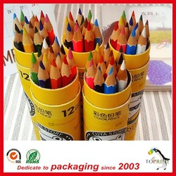 Eco-friendly paper tube and core round packaging box with colorful pencil