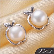 Sweet apple single real pearl ear stud 925 silver jewelry design