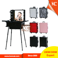 Professional rolling travel trolley train 6-lights aluminum cosmetic case, light makeup case, cosmetic case with light