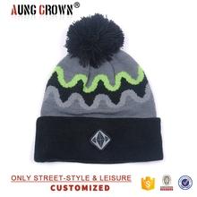 Striped Pom Pom Ski Snow Knit Beanie cap and hat