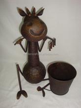 Wrought iron cute cow design flower pot animal garden ornaments