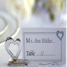 wholesale metal silver heart themed for wedding place card holder