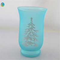 Blue ocean frosted hurricane candle holder