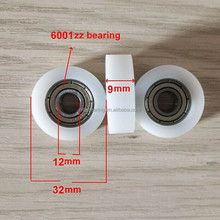 POM/Polyamide flat plastic coated bearing, pulley bearing 6001zz/rs 12*32*9mm