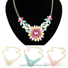 fashion jewelry 2015 Women's Multicolor Resin large rose Flower Crystal Pendant necklace
