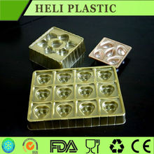 customized golden 12 compartment plastic biscuit chocolate packaging tray