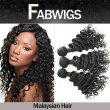 Fabwigs FH069 Top 6A quality deep wave deep curl remy human hair weft,Cheap instock malaysian deep wave hair weaving