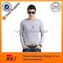 Stylish casual 100 cotton grey plain blank fitted slim gym mens sweatshirts