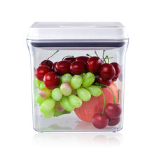 1.7 litros rectángulo ecológico un botón abrir y bloqueo plastic hermético contenedor de almacenamiento de alimentos