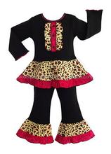Girls - Boutique Leopard Floral Shirt & Pants Clothing