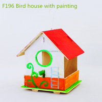 wooden 3D bird house puzzle toys for kids
