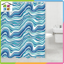 Selling 100% polyester Printed Blue Striped Polyester Shower Curtain