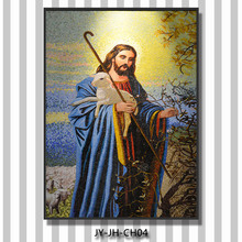 ZTCLJ JY-JH-CH04 Religious Story The Lost Sheep Mosaic Tile Picture Church Wall Hanging Glass Painting Handmade Tiles