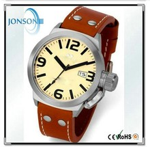 Genuine Leather Strap Custom Polished Case Stainless Steel Watches 316L.