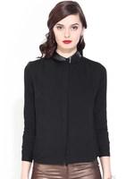 Women leather collar blank Black fashion ladies long shirts