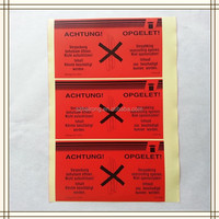 Customed print strong glue waterproof tag with red backgrand