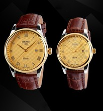 Wholesale suppliers leather watch auto date function wrist watch for unisex fashion watch