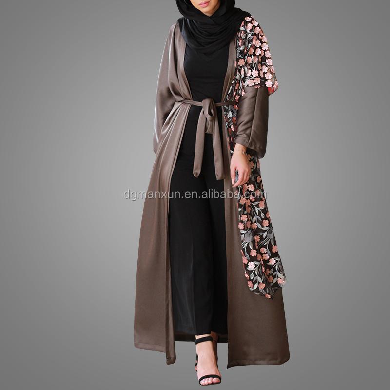 muslim dress for ladies wholesale islamic products  lace flowers details open abaya kimono in dubai 2017 (1).jpg
