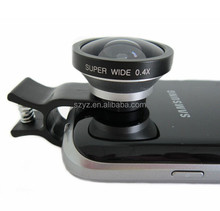 Top quality 2015 New mobile phone fisheye, Universal Clip 0.4X Super Wide Angle Mobile Phone Lens for iPhone 6 Samsung HTC