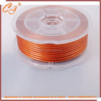 Korean Wax Cord 2.0mm 6 meter waxed nylon rope in spool in Orange Colored
