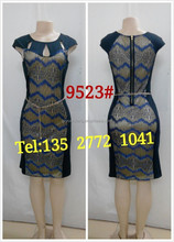 Fashion celebrity design women cap sleeve round neck stripes pattern knee length bodycon prom dress bandage party dress