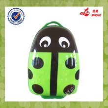 Green Shining Color Rubbery Handle Children School Bag Waterproof ABS+PC Trolley Luggage Bag
