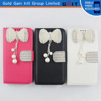 Hot Sale Lesther Flip Cover For Samsung For Note 3 N9006 Lichee Pattern Case Pearl Bowknot Flip Case For Galaxy for Note 3