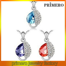 PRIMERO European and American fashion jewelry Zinc Alloy leaves necklace acacia leaf crystal necklace