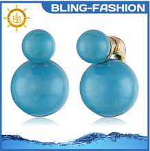 New designs beauty colorful double pearl earring