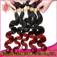 Ombre hair body weaves bundles 3 piece, 2 tone color 1B/Burg ombre hair weaves
