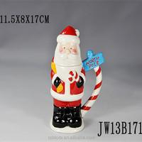 novelty Ceramic artist Christmas mug with Custom santa shape /custom kids' ceramic christmas cup high Quality