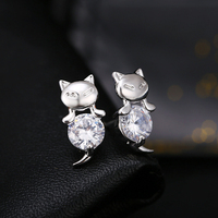 36 Pairs Wholesale Rhodium Plating White AAA CZ Cat Earrings for Women