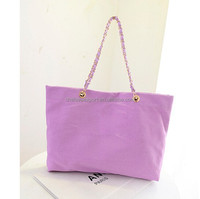 Fashion Canvas Tote Bag For Women With Metal Chain Handle