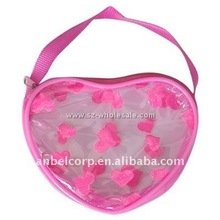 Romantic Sweet Heart PVC Documents Pouch For Girls