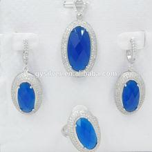 china nuevos productos rodio chapado en piedra azul de la moda de joyería de plata conjunto