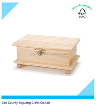 Unfinished Wooden Hinged Wood Box with Ball Legs
