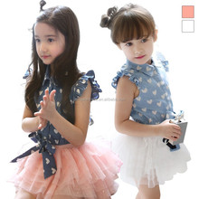 2015 Korean Girl Clothing Kids Peach Hearts Denim Tops And Tutu Dress Two Piece Outfits