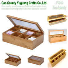 bag tea box with many partitions,accepted customized tea box,cheaper wood tea box