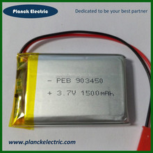 High quality 3.7v rechargeable battery of li-ion battery 3.7v 1500mah 903450 li-polymer battery 3.7v 1500mah
