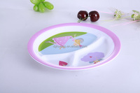 Cute round plate with three grids/Separated melamine plate for kids