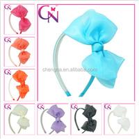 Solid Organza Bow Hairband Baby Soft Organza Hairband Organza Knot Hair Bow With Metal Hair Band For Girls (CNHB-1406061)