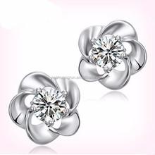 2015 nice silver jewelry crystal wintersweet earring for girls