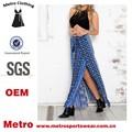 2015 moda OEM fabricante Ladies étnico impresso praia Splited Maxi saias