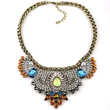 Arabic calligraphy statement necklace crystal fashion necklace