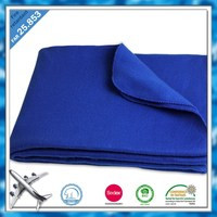 Fast delivery hot sale blue lightweight woven logo airline polar fleece blanket