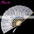 A-Fan070 (27cm) Battenburg del color blanco Decoración Para la boda del cordón del ventilador español