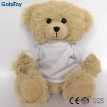 Custom plush stuffed teddy bear with plain t-shirt