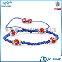 2015 new handmade braided red evil eye blue bracelet with crystal wheel turkish jewelry