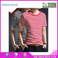 Men High Quality Bulk Blank T-Shirts Blank Red White Striped T-Shirts Supplier